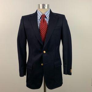 Cortefiel Mens Blazer 36R Wool Navy Blue Gold